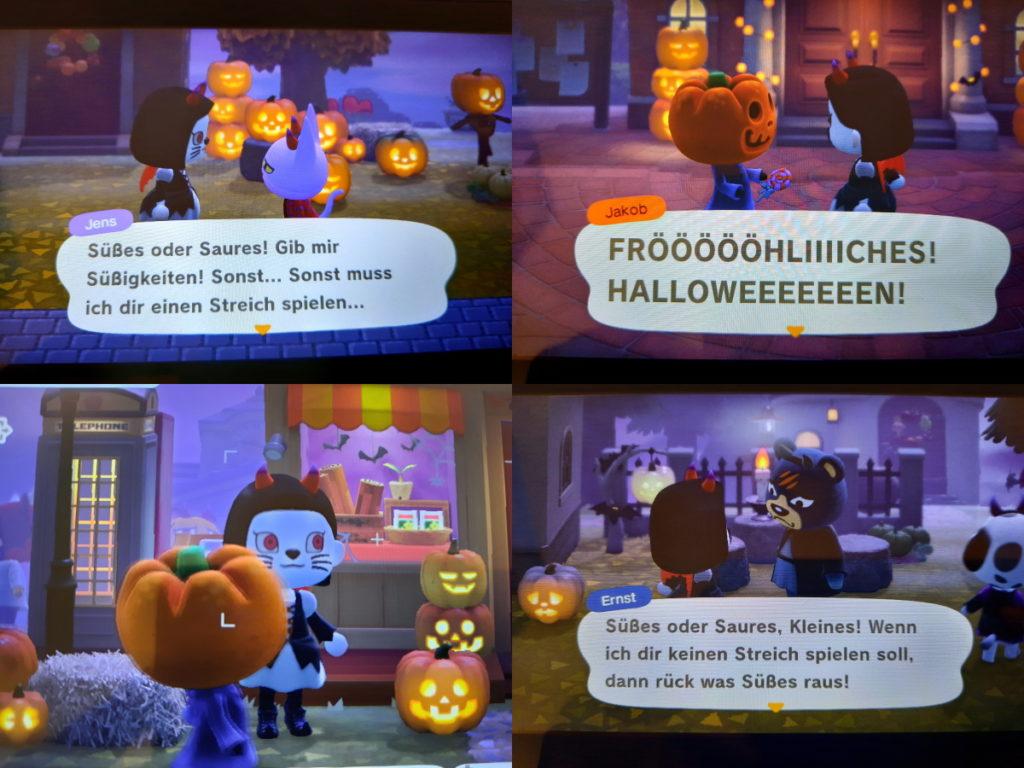 Eine Zusammenstellung aus vier Animal-Crossing-Screenshots mit Halloween-Motiven