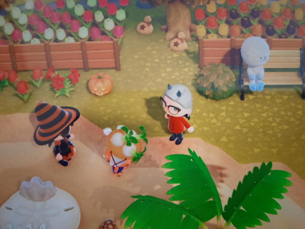 Animal-Crossing-Screenshot mit drei verschiedenen Spielcharakteren und der Rübenverkäuferin Jorna