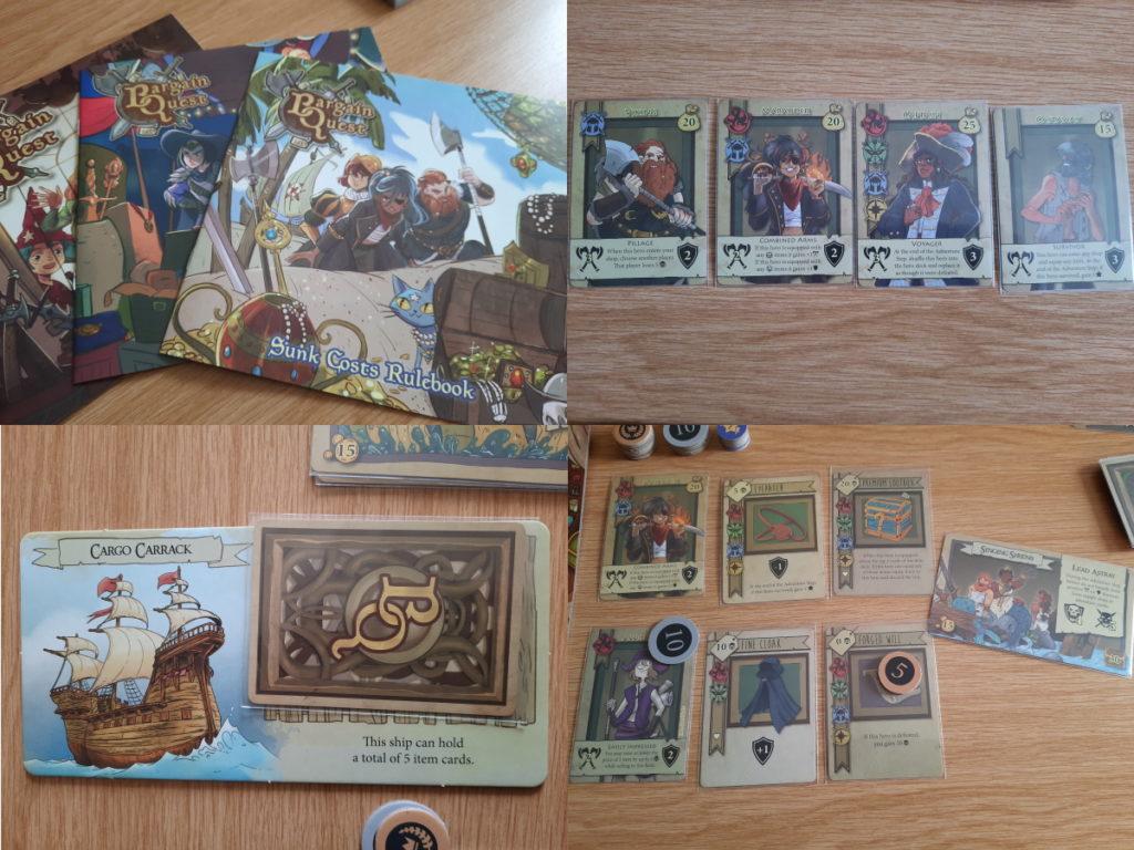 """Eine Kollage aus vier Fotos, die Elemente des Brettspiels """"Bargain Quest"""" zeigen"""