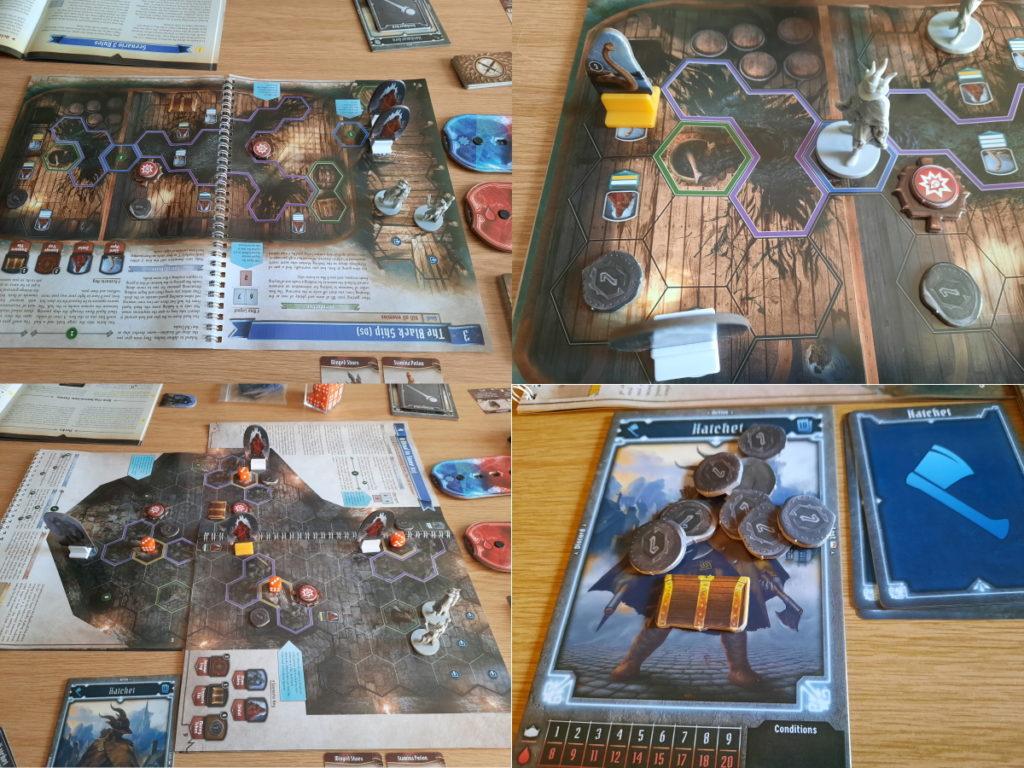 Zusammenstellung aus vier Fotos, die zwei verschiedene Spielaufbauten bei Gloomhaven zeigen (das zweite mit einer ziemlich großen Karte)
