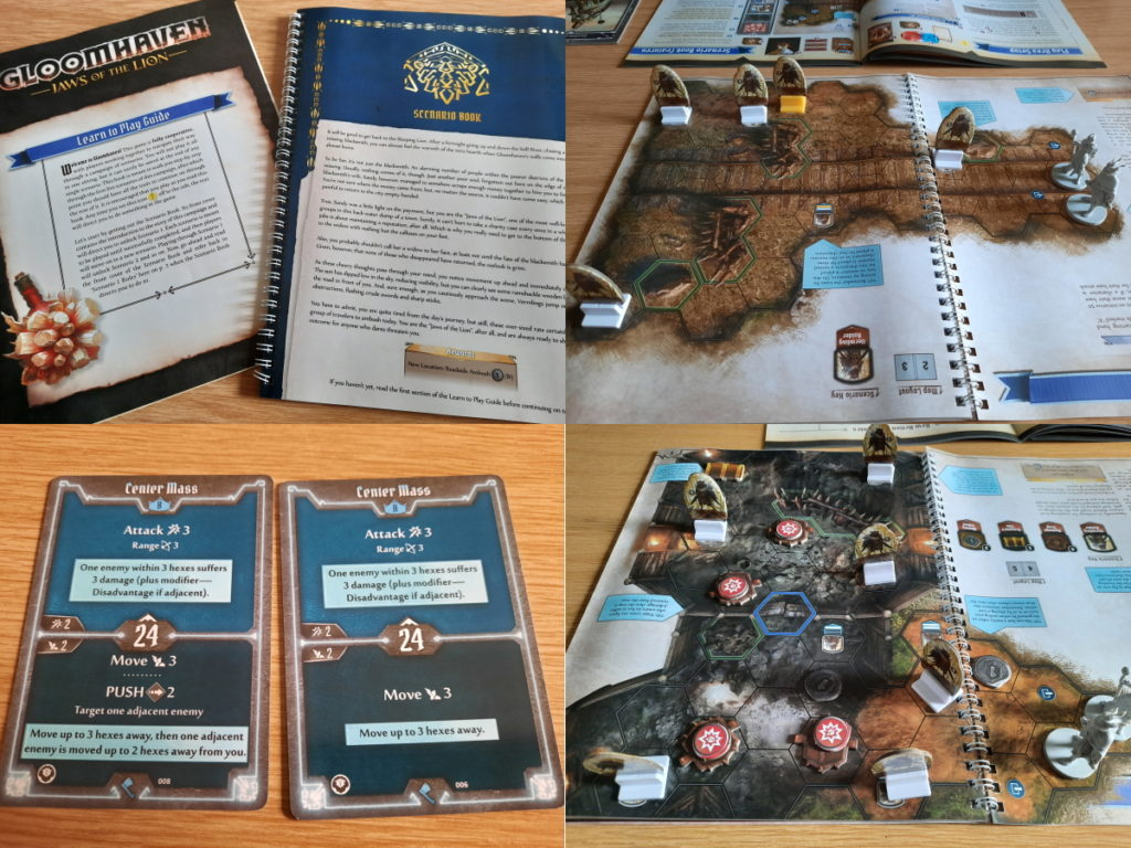 Kollage aus vier Fotos, die das Regelbuch und das Spielbuch zeigen, sowie unterschiedliche Spielkarten und zwei Dungeon-Settings.
