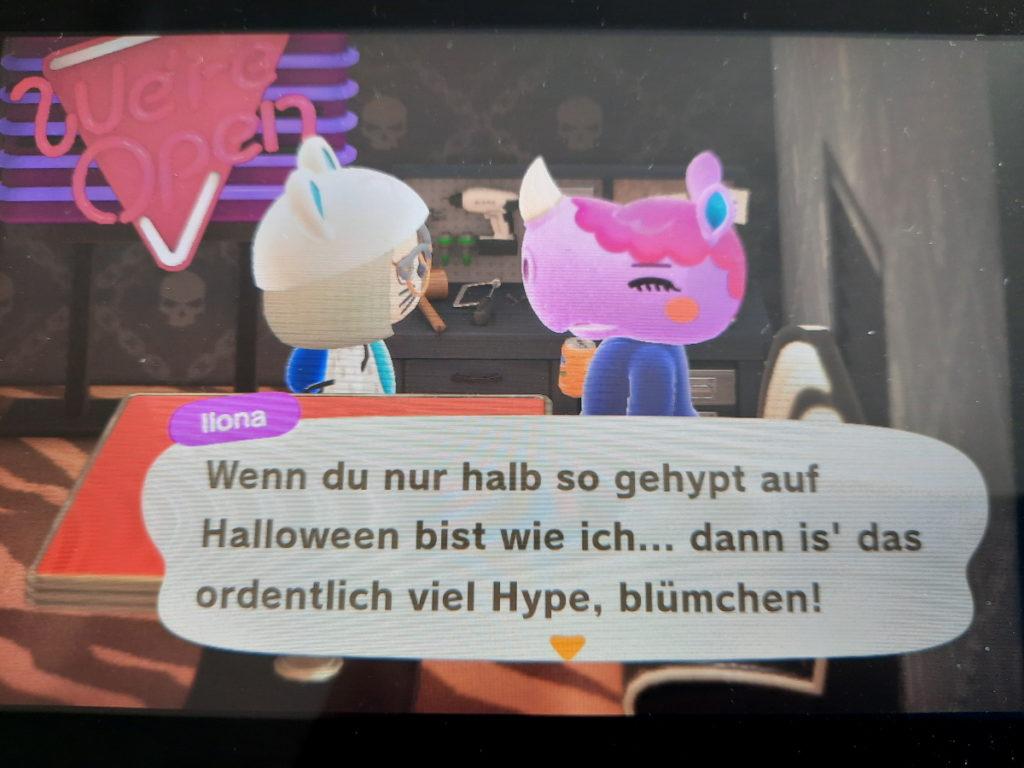 """Animal-Crossing-Screenshot mit einer Spielfigur, die sagt: """"Wenn du nur halb so gehypt auf Halloween bist wie ich ... dann is' das ordentlich viel Hype, blümchen!"""""""