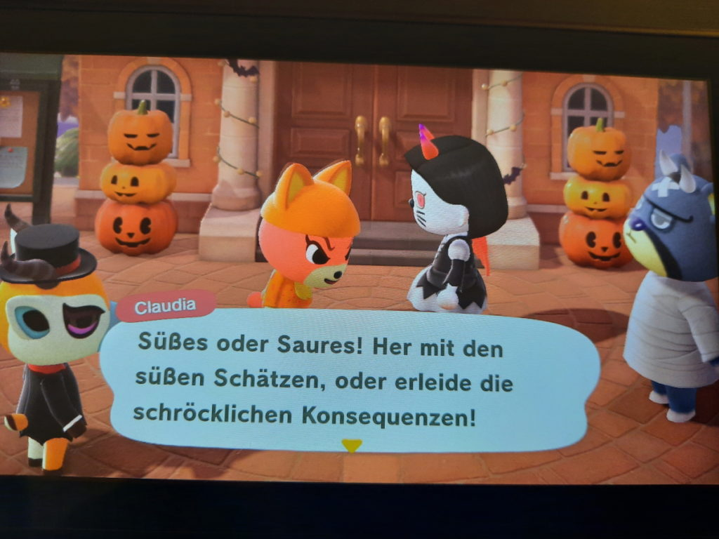 """Animal-Crossing-Screenshot mit einem """"Süßes oder Saures""""-Spruchblase"""