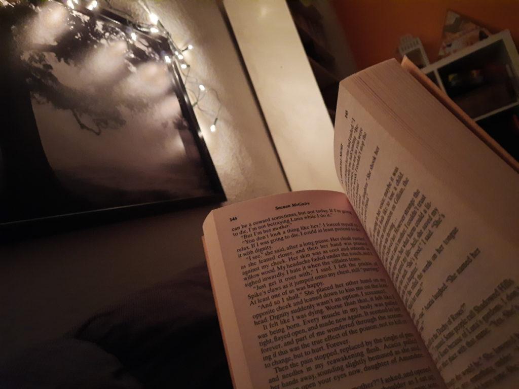 Auf dem Foto sieht man ein zum Lesen aufgehaltenes Buch vor einer Wand, an der ein großes, schwarz-weißes Foto von einer Lichterkette erhellt wird.