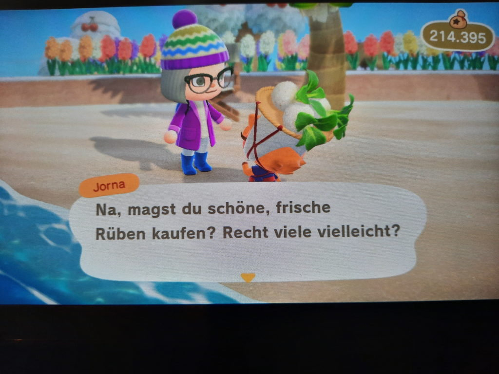 """Animal-Crossing-Screenshot auf dem ein kleines Schwein mit Rüben zu sehen ist, das """"Na, magst du schöne, frische Rüben kaufen? Recht viele vielleicht?"""" sagt."""