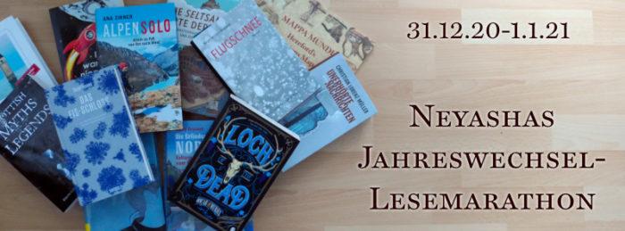 Neyashas Jahreswechsel-Lesemarathon-Logo, das links einen Haufen Bücher in allen möglichen Blauschattierungen zeigt und rechts den Logotext