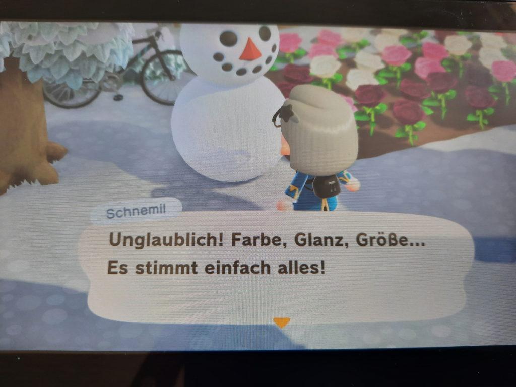 """Ein Animal-Crossing-Screenshot auf dem meine Spielfigur vor einem Schneemann steht, der sagt """"Unglaublich! Farbe, Glanz, Größe ... Es stimmt einfach alles!"""""""