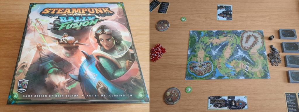 """Das Foto besteht aus zwei Teilen. Auf der linken Seite sieht man die Schachelt des Spiels """"Steampunk Rally"""", daneben den Anfangsaufbau einer Spielrunde, wobei mittig das Spielbrett liegt, links davon drei große Haufen mit verschiedenen Würfeln, und rechts vier Kartenstapel."""