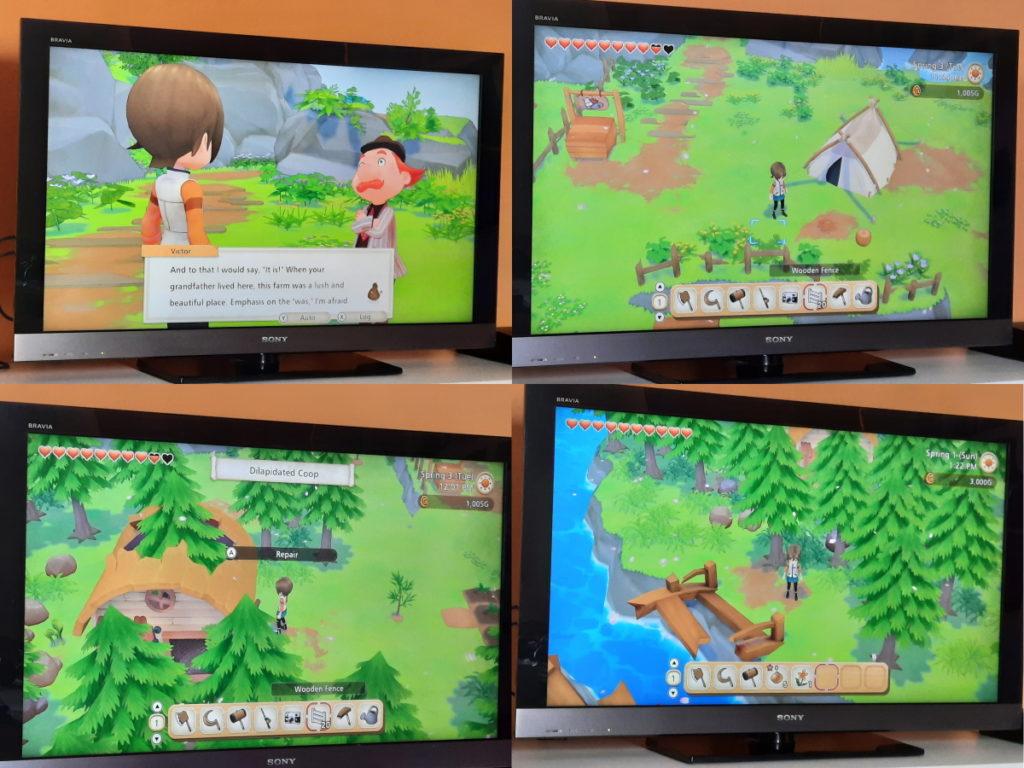 Eine Zusammenstellung aus vier Screenshots des Spiels Story of Seasons - Pioneers of Olive Town, die alle eine überwucherte waldige Fläche und Gebäuderuinen zeigen.