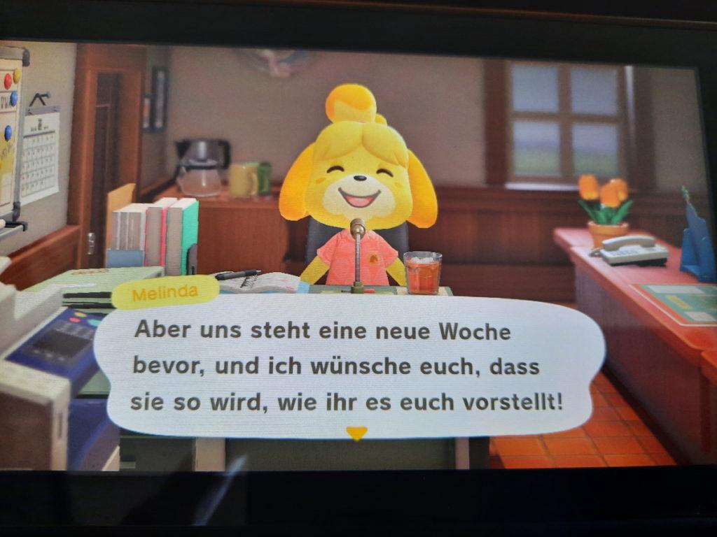 """Animal-Crossing-Screenshot, auf dem Melinda zu sehen ist, die sagt: """"Aber uns steht eine neue Woche bevor, und ich wünsche euch, dass sie so wird, wie ihr es euch vorstellt!""""."""