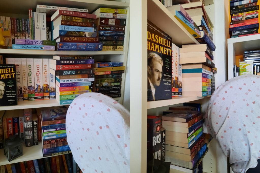 Links die Sicht von vorne, rechts die seitliche Sicht auf mein Bücherregal. Die Bücher stehen nicht nur sehr unordentlich im Regal, sondern es stehen auch lauter Stapel vor den Buchreihen, die deutlich hervorragen. ein Ventilator mit einem übergeworfenen Tuch lässt sich in der Ecke rechts unten erahnen.