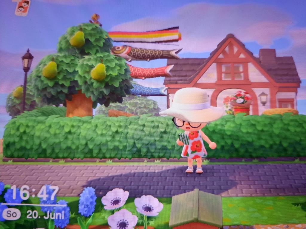 Ein Screenshot, der meine Animal-Crossing-Figur zeigt, wie sie auf den Bildschirm ihres Smartphones schaut. Sie trägt ein blumiges Sommerkleid und einen großen Sommerhut, während im Hintergrund fliegende japanische Karpfenfahnen zu sehen sind.