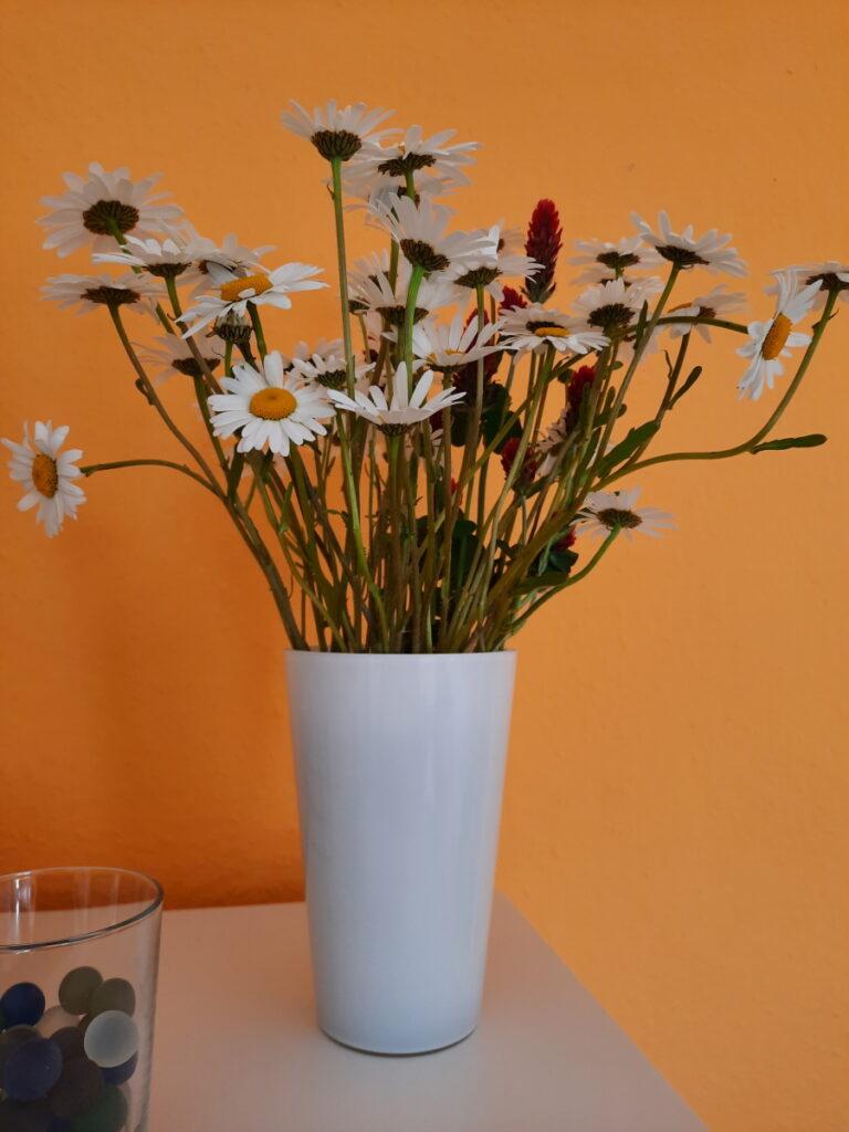 Eine weiße Vase, die mit etwas wild und zerrupft aussehenden Wiesenblumen gefüllt ist und vor einer orangen Wand steht.