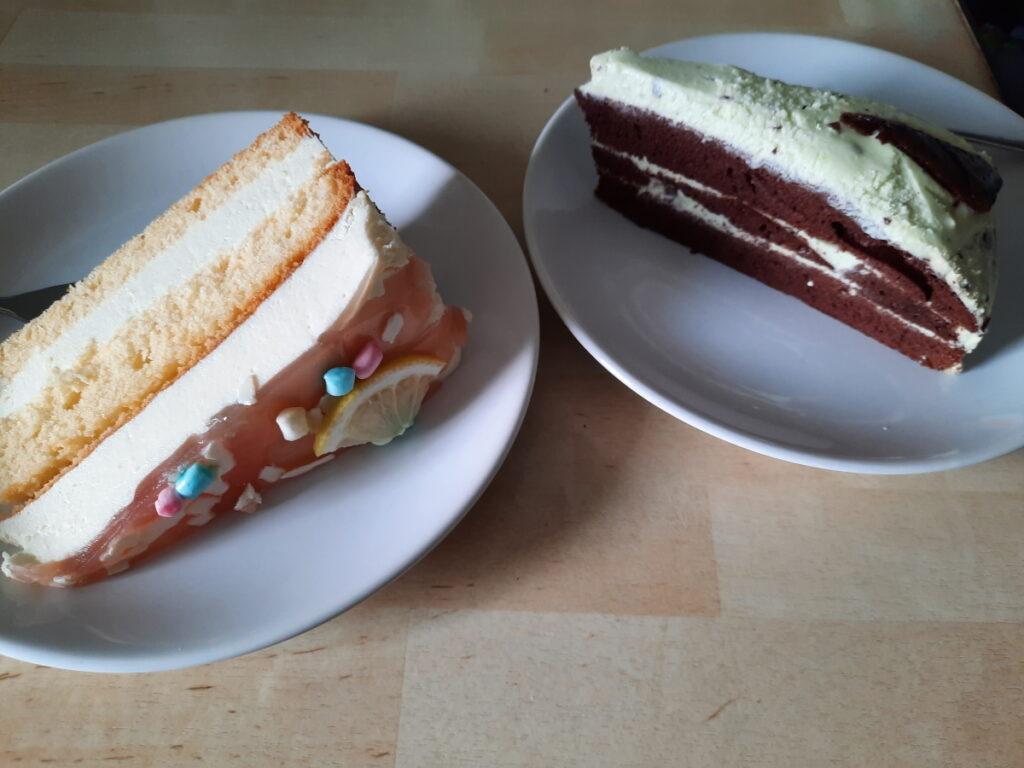 Zwei Teller mit Kuchenstücken. Links ein Stück Zitronencreme-Kuchen, der mit bunten Mini-Marshmallows dekoriert ist und rechts ein Stück Minz-Schoko-Torte, die recht unspektakulär aussieht.