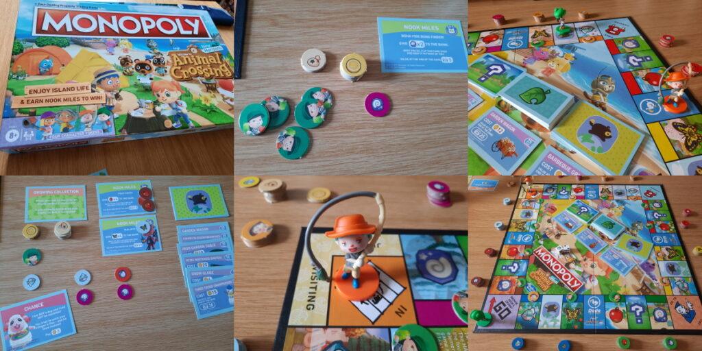 Eine Kollage aus sechs Fotos von unserem heutigen Animal-Crossing-Monopoly-Spiel. Die Bilder zeigen die Verpackung, das aufgebaute Spiel, Details der Spielfiguren und der Ereigniskarten.