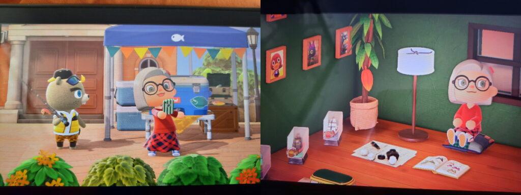 Zwei Animal-Crossing-Screenshots. Links macht mein Charakter Selfies vor dem Stand des Angelturniers, während Lomeus zuschaut, rechts sitzt meine Spielfigur auf einem Kissen am Boden und vor ihr liegen ein aufgeschlagenes Buch und ein paar Papiere plus Schreibzeug.
