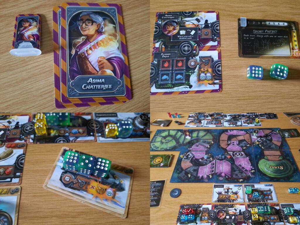 Links oben die beiden Charakterkarten mit einer Zeichnung von Asima Chatterjee, rechts oben die Maschinenteile, die mit dem Charakter kommen, sowie den Fusionwürfeln und den Secret-Project-Karten, die zur Fusion-Variante des Spiels gehören, unten links ein mit drei Fusion-Würfeln ausgebautes Maschinenteil und unten rechts ein Blick auf das gesamte Spielfeld inklusive der beiden Spielerbereiche.